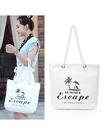 Lovely White Tree&letter Pattern Decorated Square Shape Canvas Bag