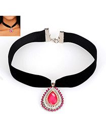Fashion Pink Water Drop Shape Diamond Decorated Short Chain Necklace