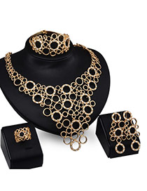 Fashion Gold Color Hollow Out Circle Decorated Pure Color Jewelry Sets (4pcs)
