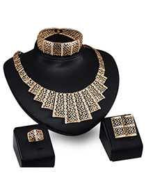 Fashion Gold Color Pure Color Design Geometric Shape Simple Jewelry Sets (4pcs)