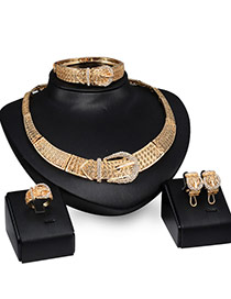 Fashion Gold Color Diamond Decorated Simple Belt Buckle Shape Jewelry Sets