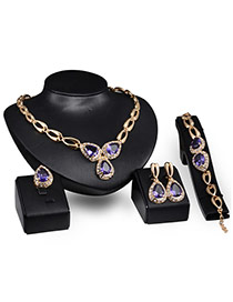 Elegant Gold Color+purple Oval Shape Diamond Decorated Hollow Out Jewelry Sets
