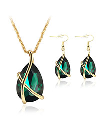Delicate Green Oval Diamond Pendant Decorated Short Chain Jewelry Sets