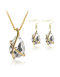 Delicate White Oval Diamond Pendant Decorated Simple Jewelry Sets