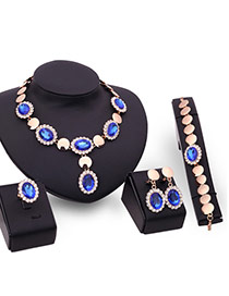 Elegant Blue Round Shape Decorated Short Chain Jewelry Sets