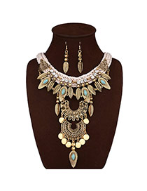Bohemia Gold Color Leaf & Round Shape Decorated Tassel Jewelry Sets