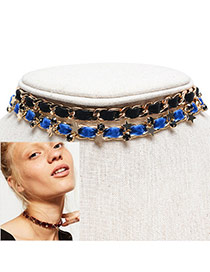 Vintage Blue+black Star Shape Decorated Simple Double Layer Choker