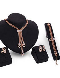 Delicate Gold Color Diamond& Round Shape Pendant Decorated Multilayer Jewelry Sets