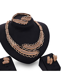 Fashion Gold Color Diamond&leaf Shape Pendant Decorated Howllow Out Jewelry Sets