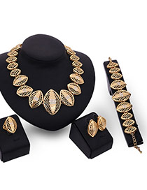 Trendy Gold Color Diamond& Oval Shape Pendant Decorated Hollow Out Jewelry Sets