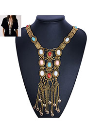 Bohemia Gold Color Round Shape Gemstone Decorated Tassel Body Chain