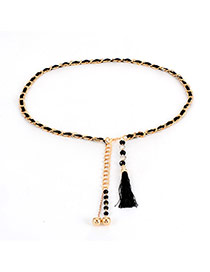 Bohemia Black Tassel &round Shape Decorated Simple Waist Chain