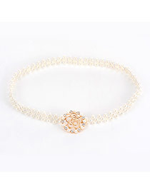 Elegant Gold Color Hollow Out Rose Decorated Simple Pearl Belt