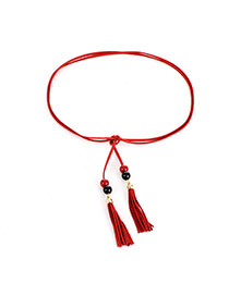 Bohemia Red Tassel &round Shape Decorated Simple Belt