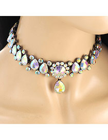 Exquisite Multi-color Waterdrop Pendant Decorated Weaving Chain Necklace