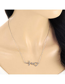 Lovely Silver Color Heart Shape Pendant Decorated Long Chian Necklace