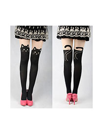 Sexy Black Cat Pattern Decorated Simple Silk Stockings