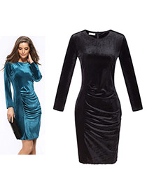 Fashion Black Pure Color Decorated Long Sleeve O Neckline Tight Dress