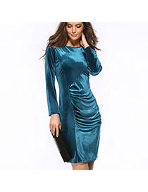 Elegant Hole Green Pure Color Decorated Long Sleeve O Neckline Tight Dress