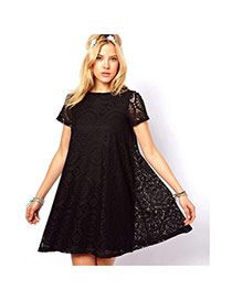 Trendy Black Flower Pattern Decorated Hollow Out Short Sleeve Dress