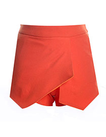 Trendy Orange Pure Color Decorated Irregular Shape Design Skirt