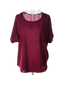 Fashion Claret-red Pocket Decorate Simple Pure Color Perspective T-shirt