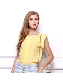Fashion Yellow O Shape Neckline Design Pure Color Short Sleeve Shirt