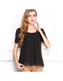 Fashion Black O Shape Neckline Design Pure Color Short Sleeve Shirt