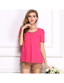 Fashion Rose Red O Shape Neckline Design Pure Color Short Sleeve Shirt