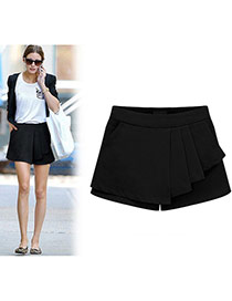 Fashion Black Pure Color Design Simple Design Bilayer Shorts