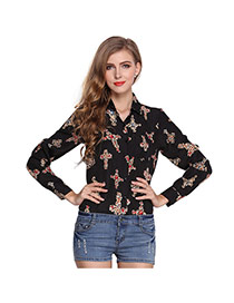 Fashion Black Cross Pattern Decorated Simple Design Long Sleeve Shirt