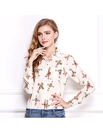 Fashion Cream-white Cross Pattern Decorated Simple Design Long Sleeve Shirt