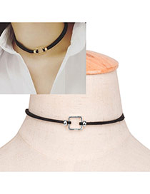 Elegant Silver Color Metal Square Shape Decorated Simple Choker