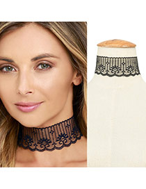 Elegant Black Lace Flower Pattern Decorated Hollow Out Choker