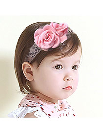 Cute Pink Rose Flower Shape Decorated Simple Design Headbands
