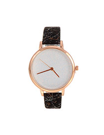 Delicate White Shimmering Powder Decorated Pure Color Strap Watch