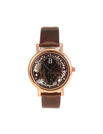 Delicate Coffee Hollow Out Eiffel Tower Shape Pattern Decorated Simple Watch