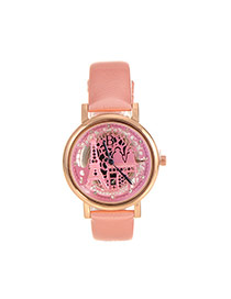 Delicate Pink Hollow Out Eiffel Tower Shape Pattern Decorated Simple Watch