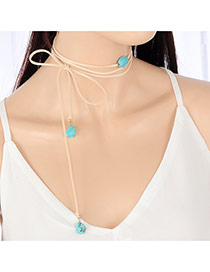 Fashion Creamy-white Bead Decorated Multilayer Design Pure Color Long Chain Choker