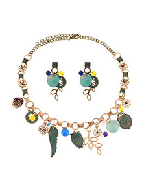 Vintage Multi-color Multielement Decorated Simple Design Hollow Out Jewelry Sets