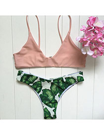 Lovely Pink Leaf Pattern Decorated Simple Design Pure Color Bikini