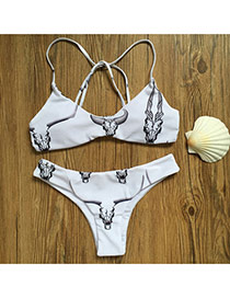 Personality White Horns Pattern Decorated Simple Design Pure Color Bikini