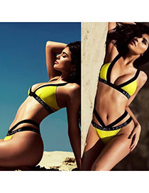 Fashion Yellow Letter Decorated Simple Design Pure Color Bikini
