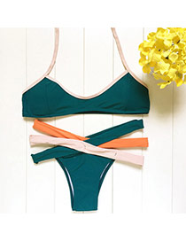 Trendy Green Bandage Decorated Color Matching Simple Design Bikini