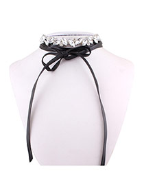 Sweet Black+white Oval Shape Diamond Decorated Double Layer Choker