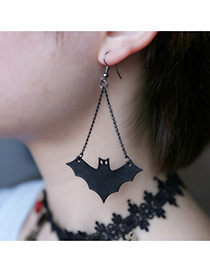 Personality Black Pure Color Bat Pendant Decorated Long Earring