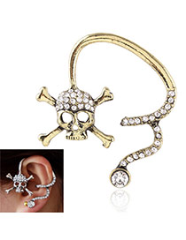 Personality Bronze Diamond Decorated Metal Skull Design Simple Earring