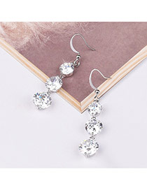 Trendy Silver Color Diamond Pendant Decorated Simple Design Pure Color Earrings