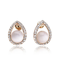 Fashion Multi-color Diamond Decorated Simple Desgin Waterdrop Shape Earrings