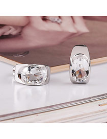 Fashion Silver Color Diamond Decorated Simple Desgin Pure Color Earrings